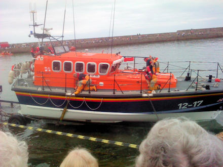 RNLI Lifeboat launching at Anstruther