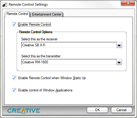 Screenshot of Creative Remote Control Settings window