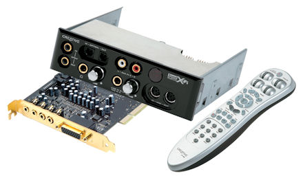 Creative X-Fi Platinum soundcard, breakout box and remote control