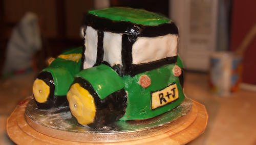 Tractor cake inspired by John Deere (rear view)