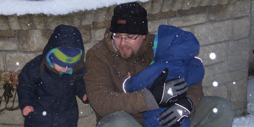 Reuben, Gareth and Joshua in the snow