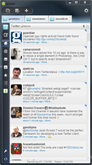 Sobees social media client for Windows