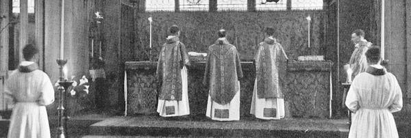 Priest, Deacon and Subdeacon standing before the altar