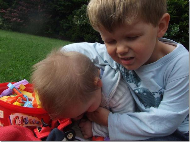 Reuben has Isaac in a head-lock