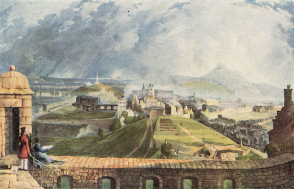 Edinburgh from the Castle looking East. Coloured Aquatint by T Sutherland after J Gendall, c.1824