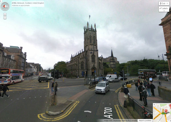Edinburgh from the West End of Princes Street, 2012 - Google StreetView