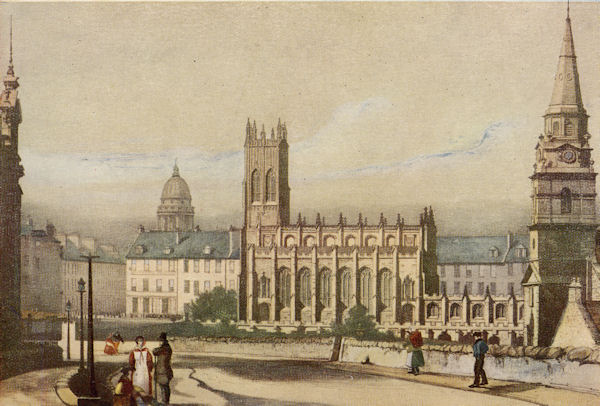St John's Chapel, Princes Street, from Castle Terrace. Coloured lithograph by Nicol after W Mason, c.1845