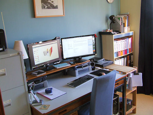 My study, showing from left to right: filing cabinet, desk and bookcase