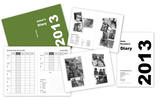 Samples of various pages in Jane's 2013 diary