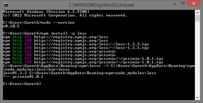 Command line showing node installation