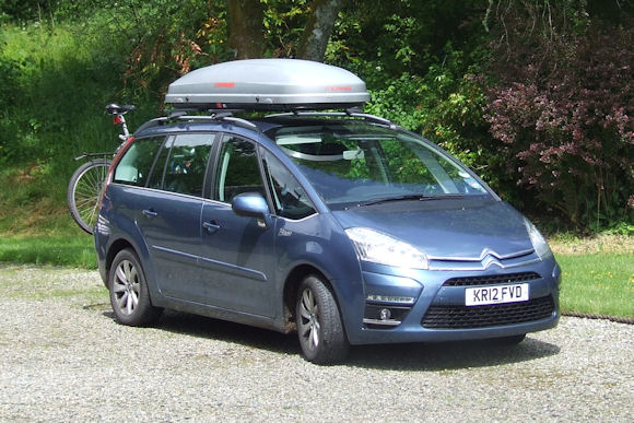 Our Citroën Grand C4 Picasso parked at Hoscote House, ready for adventure.