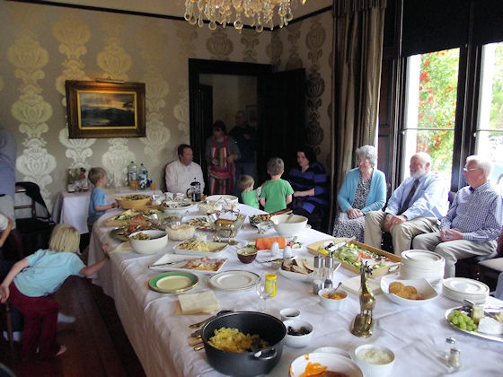 Buffet meal in the dining room at Hoscote House