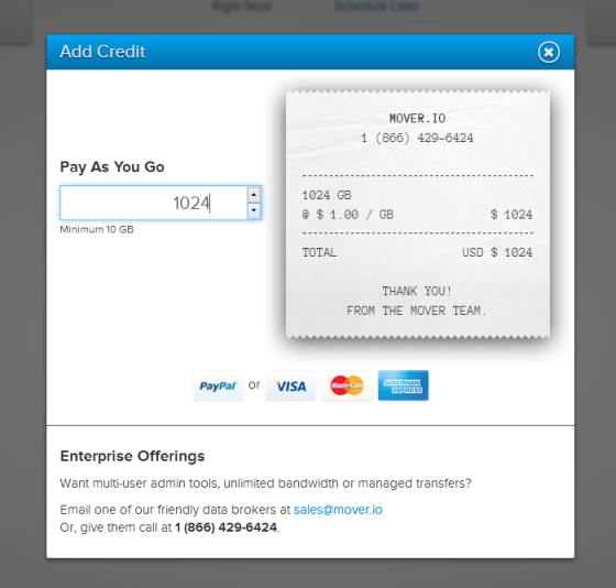 The Mover add credit dialog is styled like a till receipt