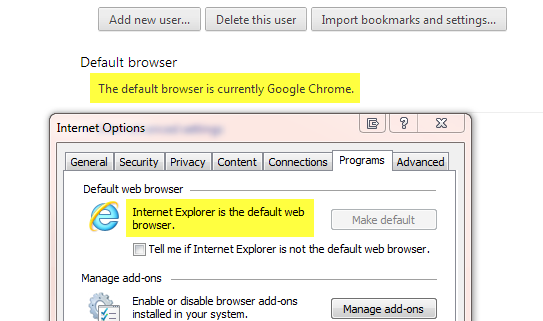 Screenshot of options screens of Chrome and Internet Explorer. They both claim to be the default browser.