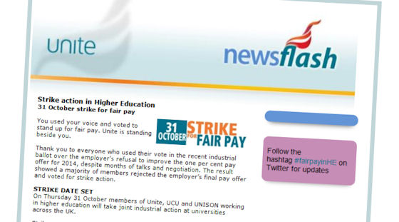 Unite newsflash email: Strike action in Higher Education 31 October