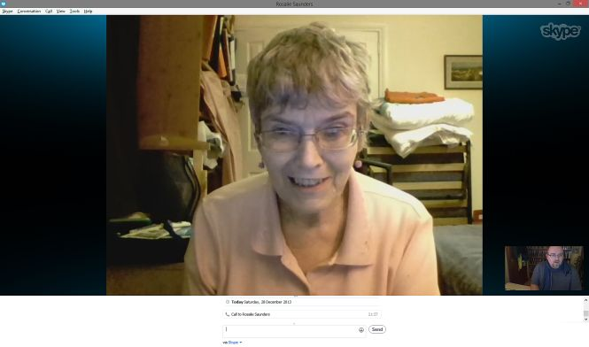 My Mum on Skype, earlier this evening.