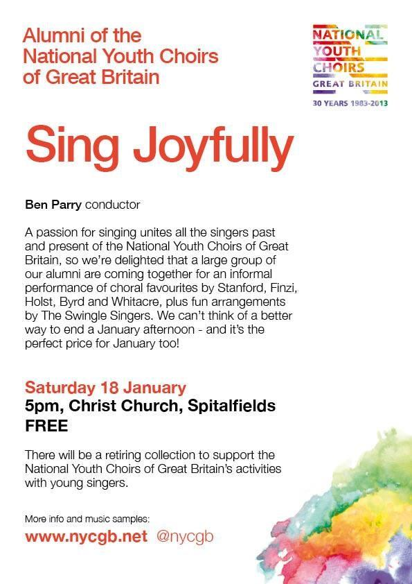 Sing Joyfully—concert of National Youth Choir of Great Britain alumni, London, 18 January 2014