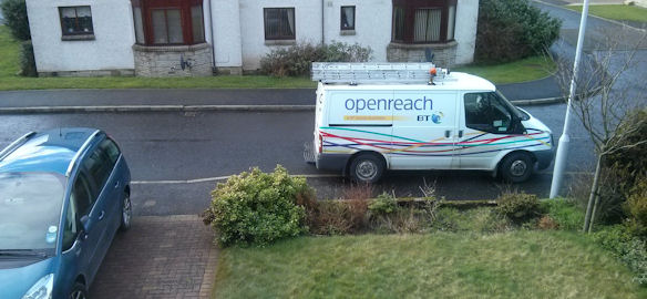 BT Openreach van parked outside our house on Tuesday 18 February