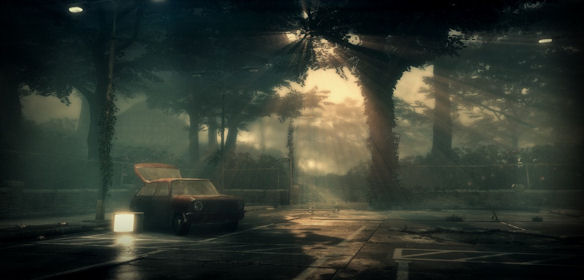 Scene from 'Everybody's gone to the rapture' showing a car in a deserted car park, rays of sunshine through the trees