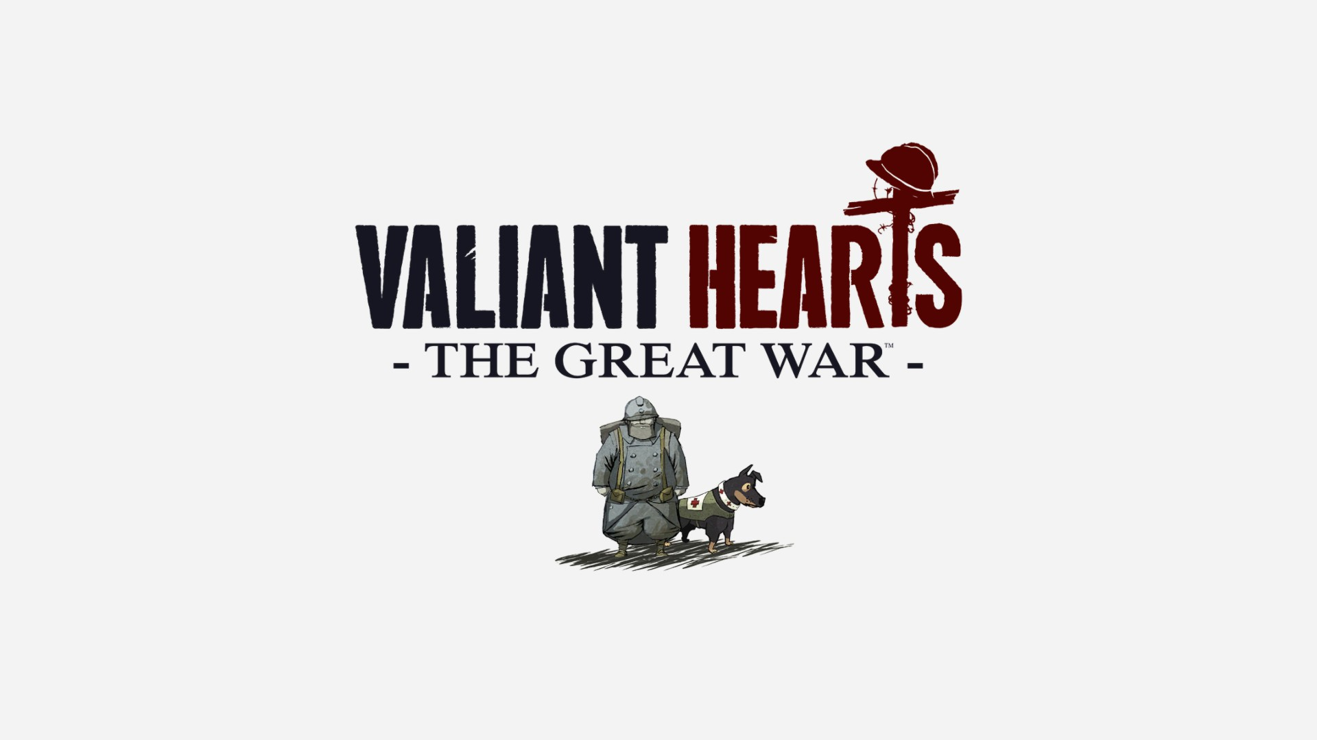 Valiant Hearts—The Great War. A soldier stands wearing a backpack, beside a medical dog wearing a red cross.