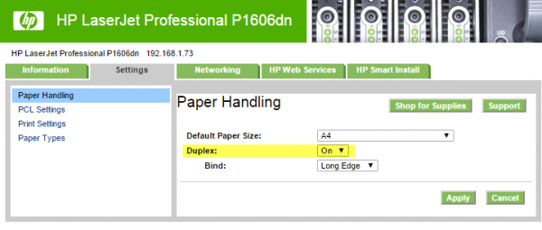 HP P1606dn network settings