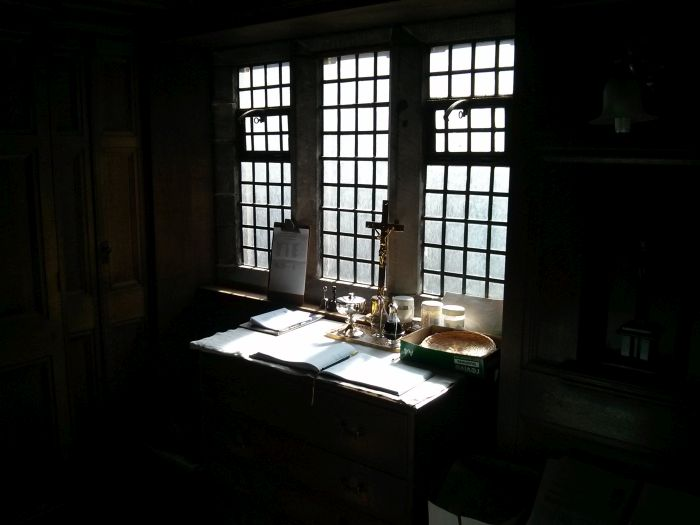 I love the light in the morning in the sacristy (clergy vestry) at All Saints', St Andrews.