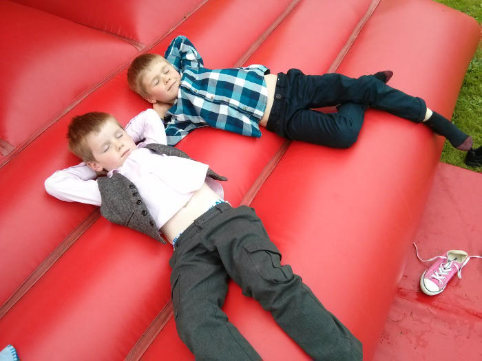Isaac and Joshua take a break from jumping