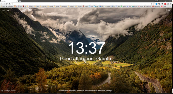 Today's new tab background in Google shows a beautiful landscape
