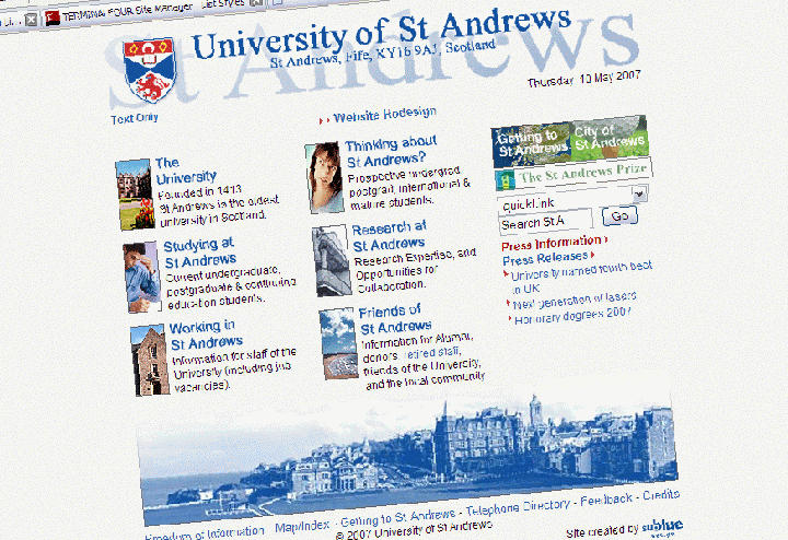 University of St Andrews homepage in 2006