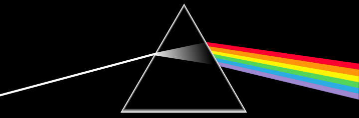 Pink Floyd's The Dark Side of the Moon cover, showing a prism