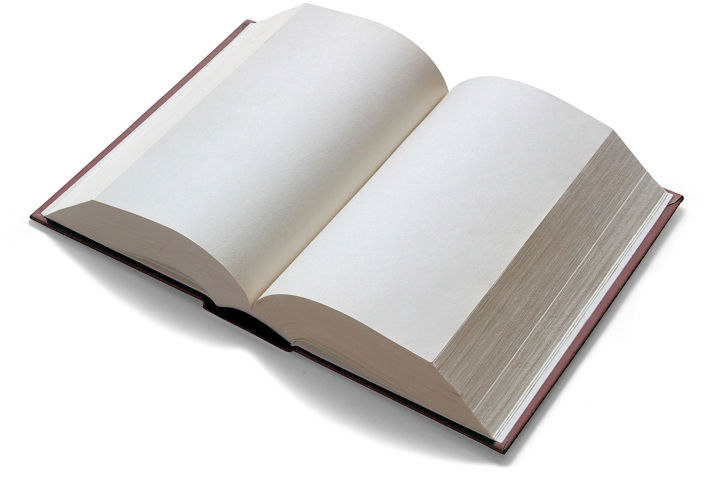 A book with blank pages lying open on a white background