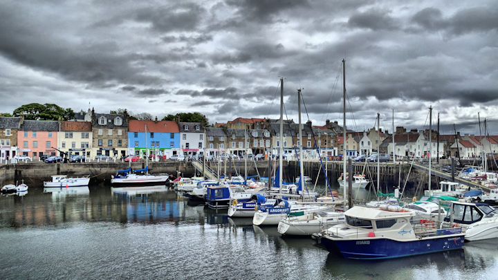 Anstruther harbour beneath a grey sky