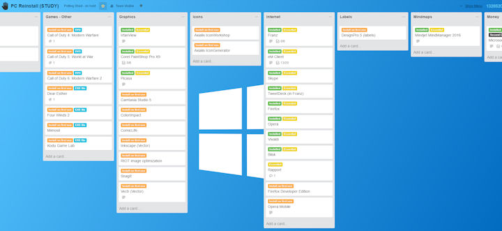 Trello board for reinstalling software on my PC