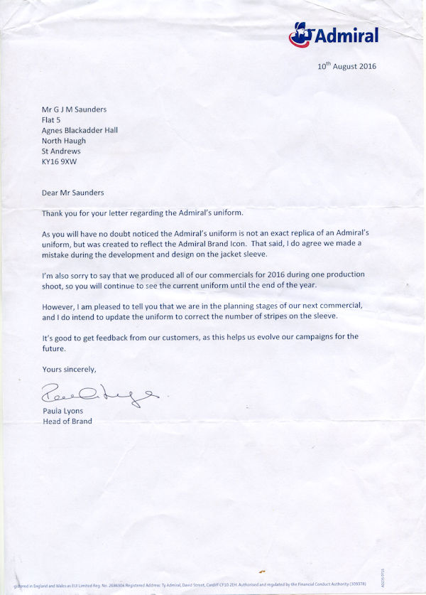 Letter from Admiral's head of brand