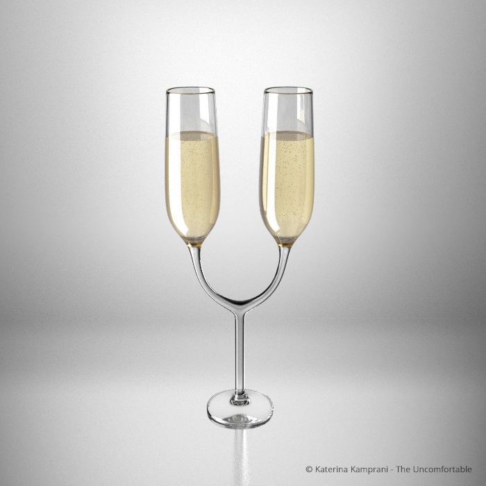 Champagne glass for two by Katerina Kamprani