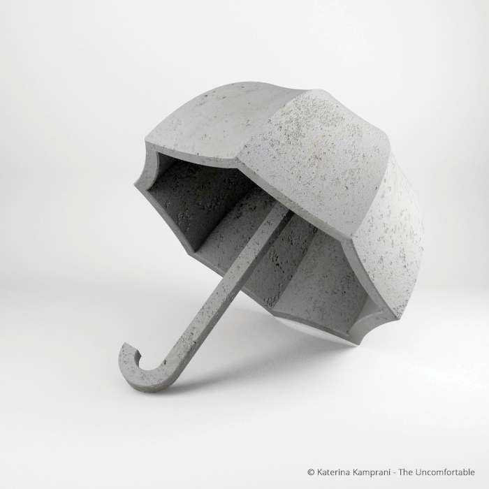 Concrete umbrella by Katerina Kamprani