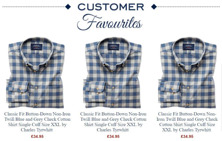 Customer favourites showing three checked shirts, all exactly the same