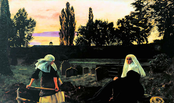 Two nuns in a graveyard at dusk, one sits looking at the viewer, holding prayer beads, the other has sleeves rolled up digging a grave