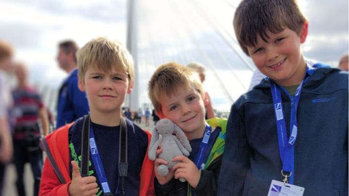 Joshua (then 8), Snowy Jr. (rabbit) with Isaac (6) and Reuben (then 8) on the Queensferry Crossing, Saturday 2 September 2017.