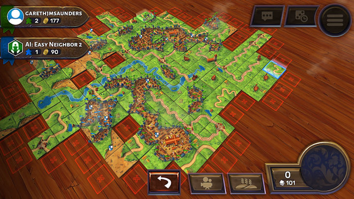 Playing Carcassonne on Steam with River, The Abbot and Inns and Cathedral expansions enabled