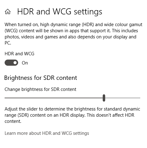 HDR and WCG settings screen