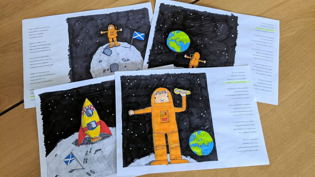 Illustrations of an orange astronaut standing on the moon.