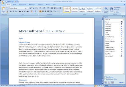 Screenshot of Word 2007 Beta 2
